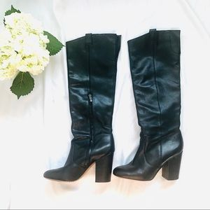 Sam Edelman Tucker Black Knee-High Boots w Heel.